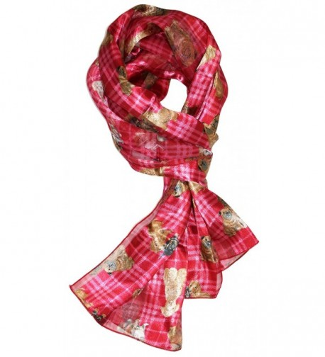 Ted and Jack - Plaid Pups Print Silk Feel Scarf - Red - CE12MAW5508