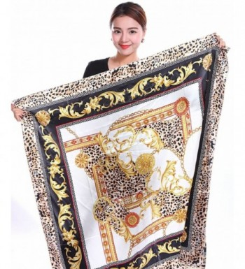 """Bear Motion Collection - Womens 100% Large Silk Scarf with Leopard Print (43"""" X 43"""") - White - CV11T75I56H"""
