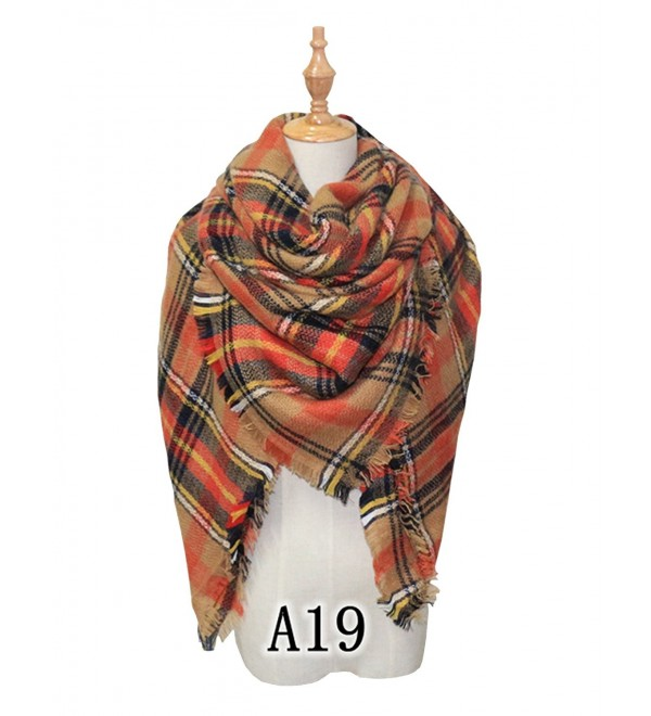 YOUNG RONG Women's Stylish Warm Blanket Long Scarves Grid Winter Large Scarf - A19 - CM186UIZNG6