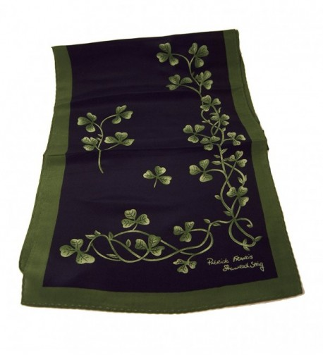 Navy Green Shamrock Sprig Scarf in Fashion Scarves