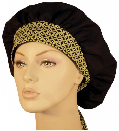 Designer Bouffant Medical Scrub Cap - Black W/ Metropia Band - CW12ELBZ0WX