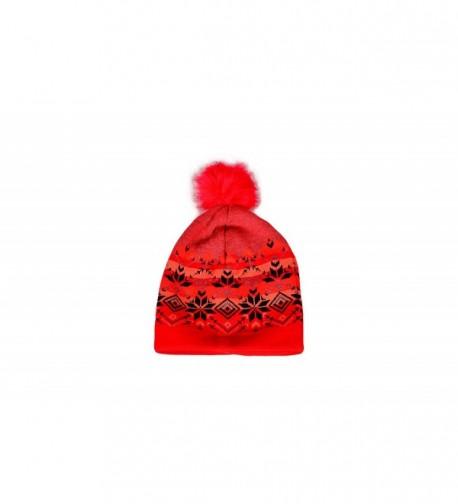 MATCH MUCH Beanie Hat Knitted Hat With Pom Pom - Red - CA12N8OYLRT
