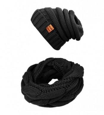 Winter Scarfs Knit Infinity Scarf Women & Men Circle Loop Scarves Hat Set - Black - CW1868M523L