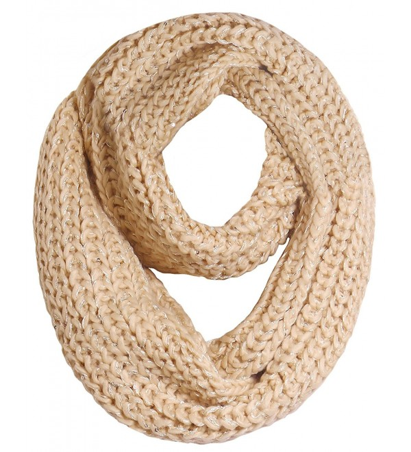 LRKC Womens Knitted Winter Infinity - Beige - CK12NYFB0DQ