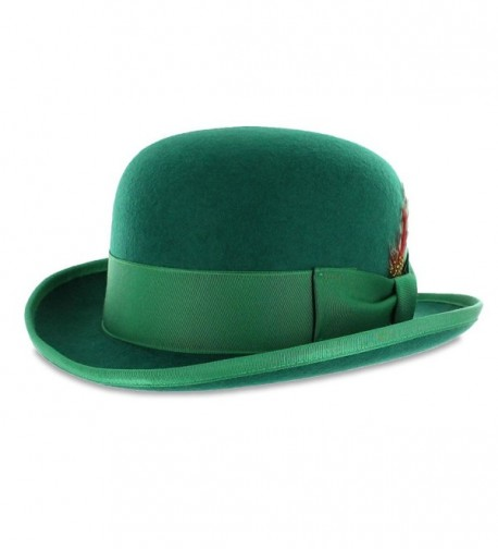 Belfry Mickey Derby Bowler St. Patrick's Day Irish Green Hat with Feather and Liner - Green - C7118B4IG6J