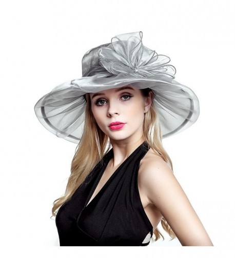 Ladies Organza Summer Sun Hat Party Beach Church Horse Race Cocktail Wedding Hat - Grey - CH17YX7DNR9