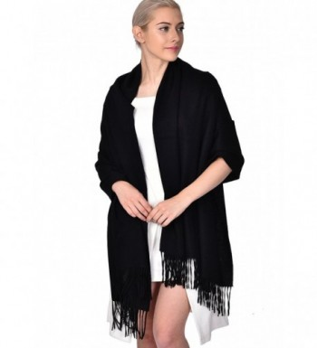 ADVANOVA Ideal Gift for Women 100% Wool Pashmina Large Size Blanket Scarf Spring Evening Wrap - Black(gift Box) - C5186D00UOG