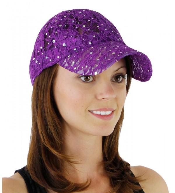 Women's Lace Glitter Sequin Baseball Hat Cap - Purple - C2110CS9UZD