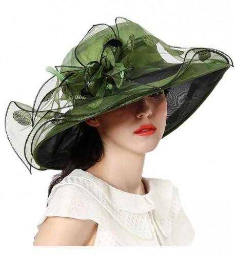 June's Young Women Race Hats Organza Hat with Ruffles Feathers - Blackish Green Polka Dot - C612EWLUUH7