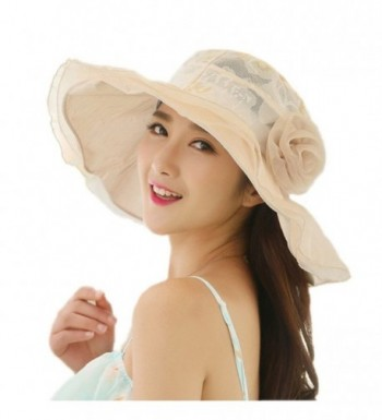 Womens Kentucky Derby Hats JLTPH Summer anti-UV Lace Flounce Sun Hats Wide Brim - Beige - C012O6MA6E4