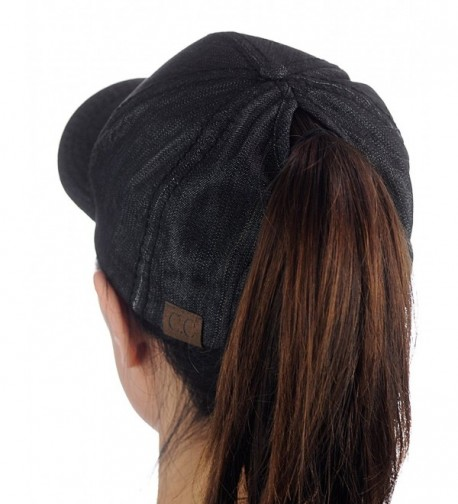 C.C Ponycap Messy High Bun Ponytail Adjustable Cotton Baseball Cap Hat - Black Denim - CU182SA3H80