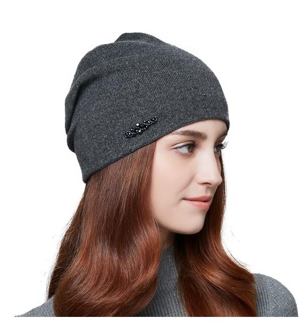 4eb22ef4472 ENJOYFUR Womens Slouchy Beanie Hat Super Fine Lady s Winter Warm Wool Hat -  Dark Grey -