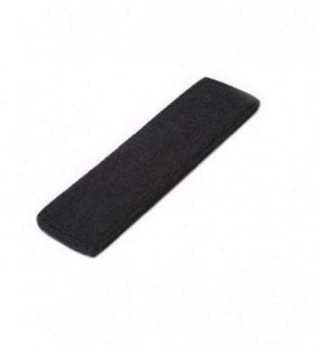 DCI Single Sports Headband 100% Terry Cloth - Black - CQ113MV3YXB