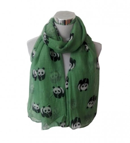 Wensltd Clearance Women Cute Panda Print Scarf Wraps Shawl Scarf - Green - CS129UUTAX9