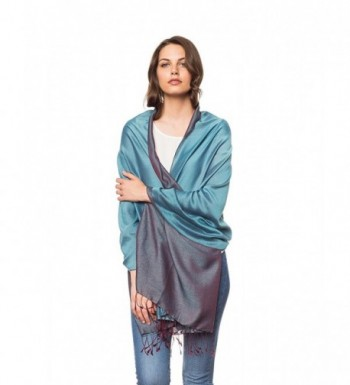 Invisible World Silk Microfiber Combination Two Tone Nepalese Water Shawl Scarf - Turquoise/Maroon - CC127MR0LE5