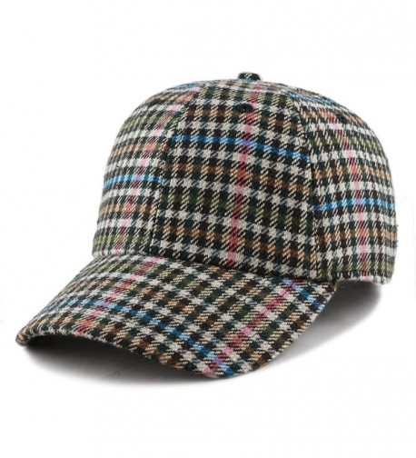 The Hat Depot Unisex Wool Blend Baseball Cap Hat with Adjustable Buckle Closure - Plaid 34 - CO187U38A33