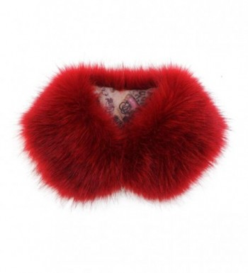 Easting Women's Collar Faux Chic Shawl Fur Scarf Collar Stole - Red Wine - CY126OZCX0B