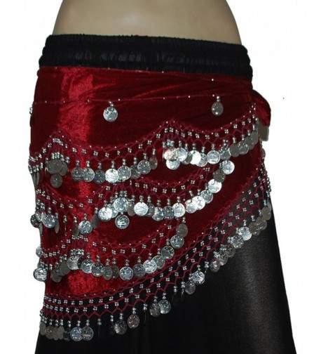 Wevez Classic Egyptian Belly Dance Hip Scarves for Professional Dancers - Maroon - CF12O29JKZV