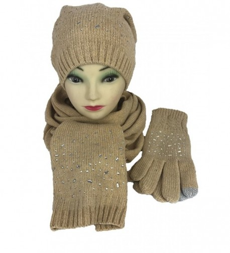 SNOWDROP Series Wool blended Gift Sets Hat- Glove and Scarf (touchscreen friendly) - Camel - CN183Y3HQZL