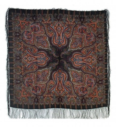 Pavlovoposadskiy Platok Women's Russian Wool Shawl With Silk Fringes - Black - CE11NKTZ8CP
