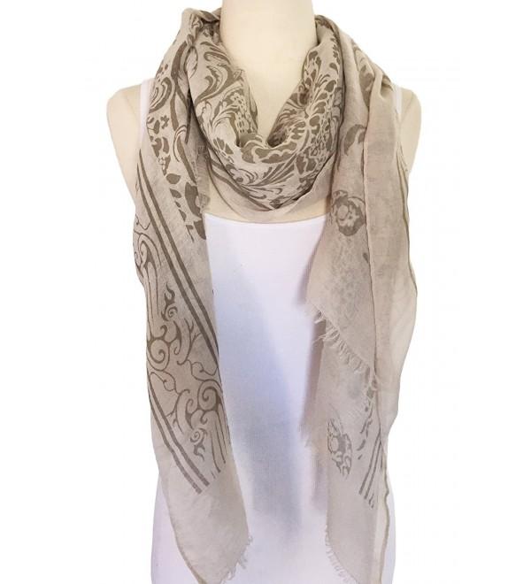 Women Lightweight Soft Printing Cotton Scarf Shawl - Light Brown - CZ17XMOYNLG