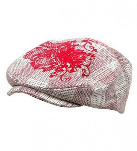 Flower Checkered Ivy Hat-Pink - C0111ZIHGLT