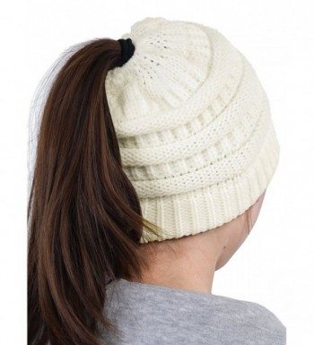 HENCY Women's Beanie Hat Soft Stretch Cable Knit Messy High Bun Ponytail Warm Skullies Cap - White - CY1889EWO4T