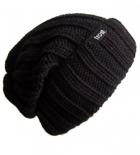Frost Hats Fall Winter Unisex Slouchy Rolled Cuff Hat Beanie Frost Hats - Black - C511BH7MG2R
