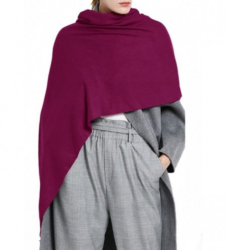 Afibi Womens Plain Pashmina Shawl Wrap Scarf Winter Long Solid Colors Shawl - Purple - C4187R64SCE