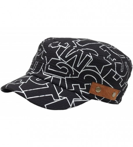 RaOn A98 Graffiti Design Leather Patch Style Fashion Club Army Cap Cadet Military Hat - Black - C2121AOPPSR