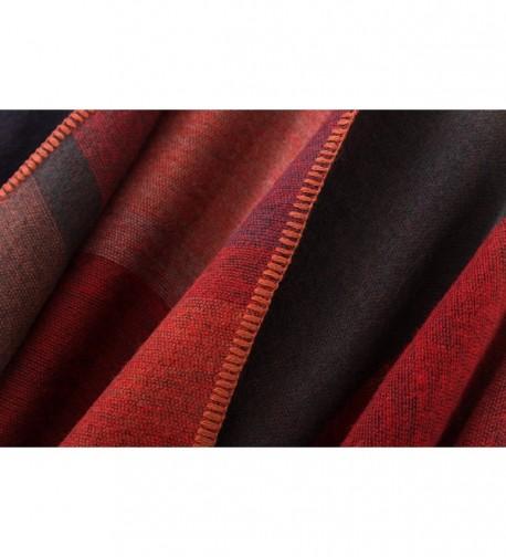 db38f1e80 Women's Color Block Shawl Wrap Open Front Poncho Cape Red C5128S6M4UN