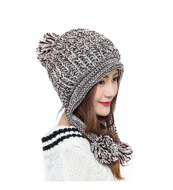 d37371c5844 HUAMULAN Women Winter Thick Beanie Hat Ski Ear Flaps Caps Dual Layered -  Beige   Brown