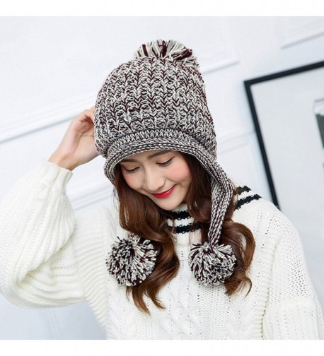6ae416ddd25 Women Winter Thick Beanie Hat Ski Ear Flaps Caps Dual Layered Beige ...