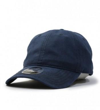 Heavy Washed Wax Coated Adjustable Low Profile Baseball Cap - Navy/Without Buckram - C412NV4Q1PT