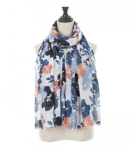 Koozeey Women's Soft Tassels Scarf Fashion Elegant Fringe Shawl - Gold Stamping-sea Blue - C0186CKWYCN