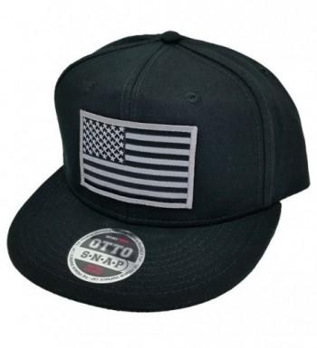 Grey American USA Flag Patch Flat Bill Snapback Baseball Cap Hat by Project T - Black - CM12FJHX0VB