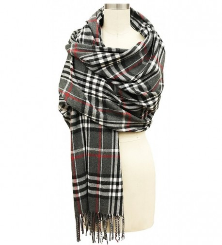 Vera Womens Oversized Plaid Scarf Cashmere Feel Made In Italy - Charcoal - CC18846L035
