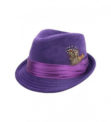 Luxury Divas Purple Wool Felt Fedora Hat With Feather Trim - CT17YLQT78G
