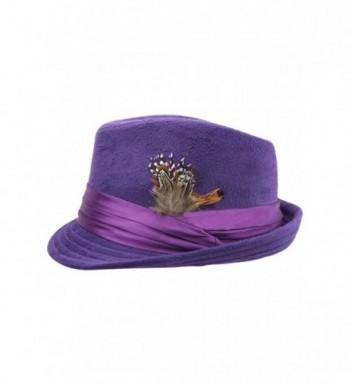 Luxury Divas Purple Fedora Feather