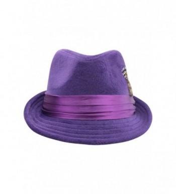 Luxury Divas Purple Fedora Feather in Women's Fedoras