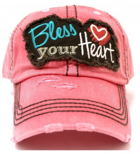 "New! ROSE PINK ""BLESS YOUR HEART"" Patch Baseball Cap w/ Back &lt3 Detail - C717YKD6XR2"