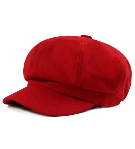 HowYouth Unisex Womens Mens Vintage 8 Panel Cabbie Beret Cap newsboy Baker Boy Flat Cap Peaked Winter Hat - Red - CQ1865GYQIC