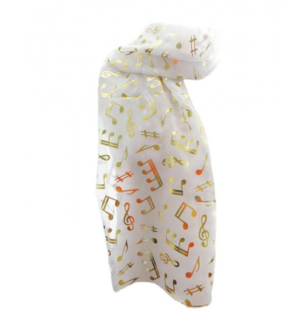 New Company Womens Metallic Gold Music Notes Scarf &ETH White - One Size - CP11FWB5KUJ