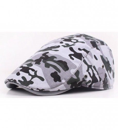 Qunson Unisex Camouflage Cotton Flat Gatsby Ivy Cabbie Newsboy Cap Hat - Grey - CX12K5U3QMP