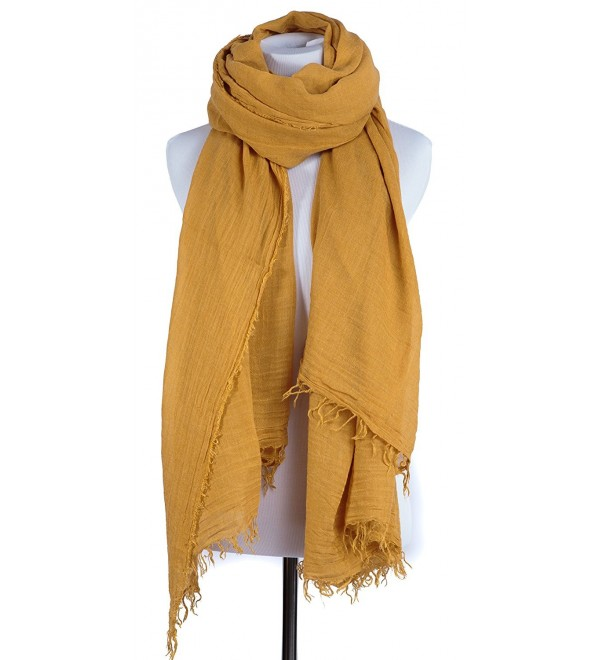 Portola Crinkled Wool Blend Solid Color Blanket Size Scarf and Wrap Shawl - Mustard - CS12O4OF3Z1