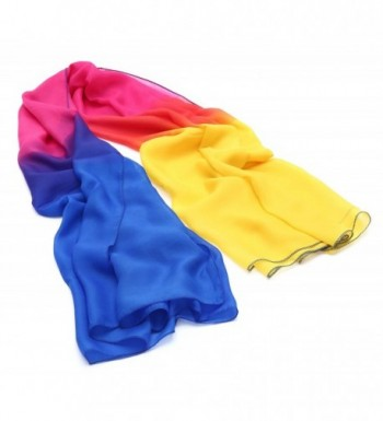 JAKY Global Womens Lightweight Multi Radient Colors Pure Silk Sheer Scarf - Blue Yellow - CN17YHGY2H5