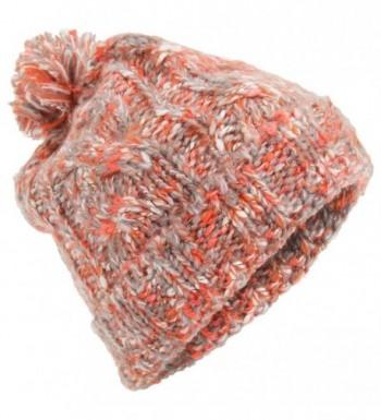 Universal Textiles Womens/Ladies Orange Knitted Pom Pom Winter Hat - Orange - C6129KNBADJ
