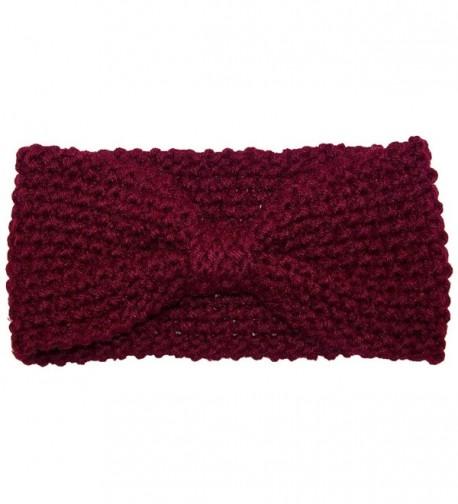 Best Winter Hats Adult Crochet Bow Knot Headband/Ear Warmer (One Size) - Maroon - C511OZ4HN9P