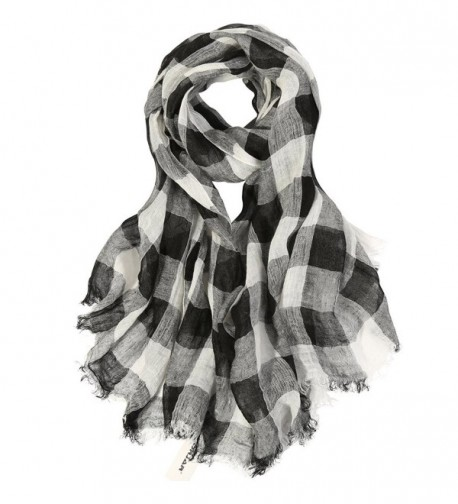 "ZORJAR 100% Linen Checks Long Sarong Wrap Beach Cover Up Large Scarf Scarves Wrap 76""x35"" - Black/White - C212H12FTM5"