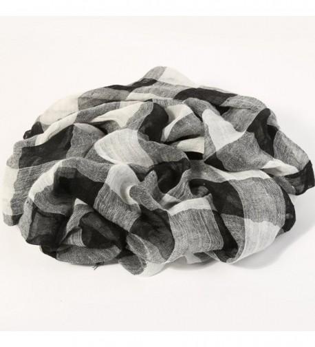 ZORJAR Linen Checks Sarong Scarves in Fashion Scarves
